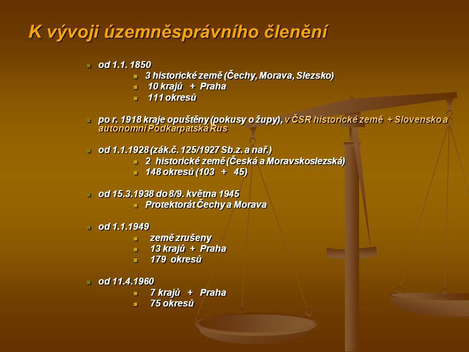 K vývoji územněsprávního členění od 1.1. 1850 od 1.1.