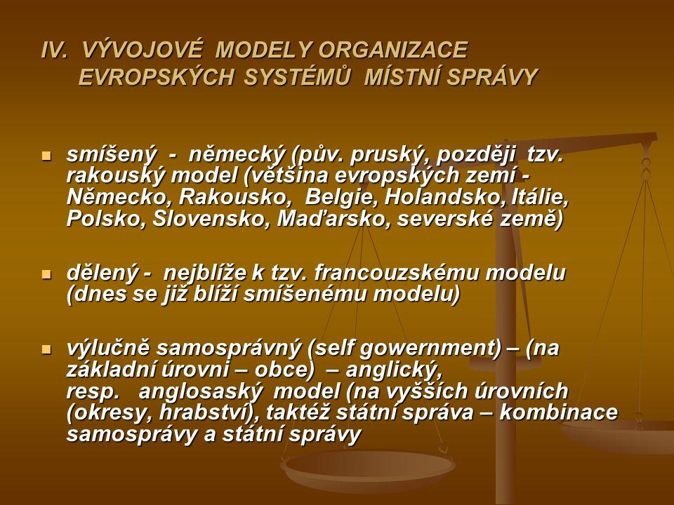 IV. VÝVOJOVÉ MODELY ORGANIZACE EVROPSKÝCH SYSTÉMŮ MÍSTNÍ SPRÁVY smíšený - německý (pův.