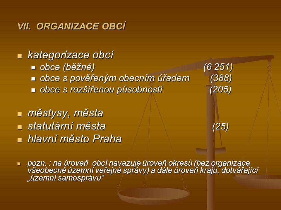 VII. ORGANIZACE OBCÍ kategorizace obcí kategorizace obcí obce (běžné) (6 251) obce (běžné) (6 251) obce s pověřeným obecním úřadem (388) obce s pověře