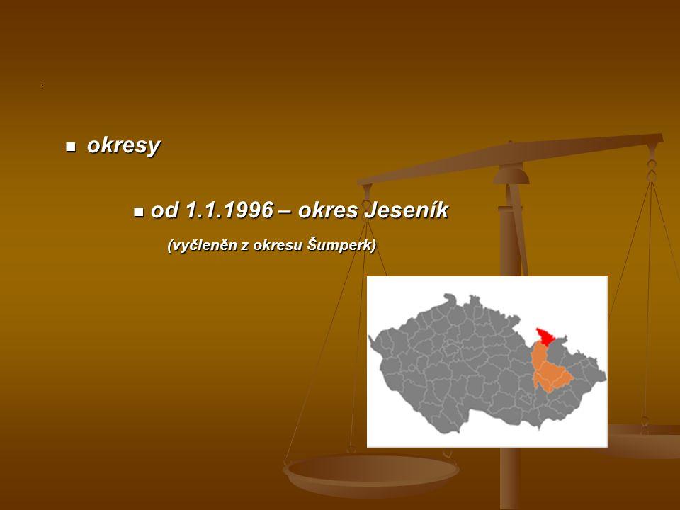 . okresy okresy od 1.1.1996 – okres Jeseník od 1.1.1996 – okres Jeseník (vyčleněn z okresu Šumperk)