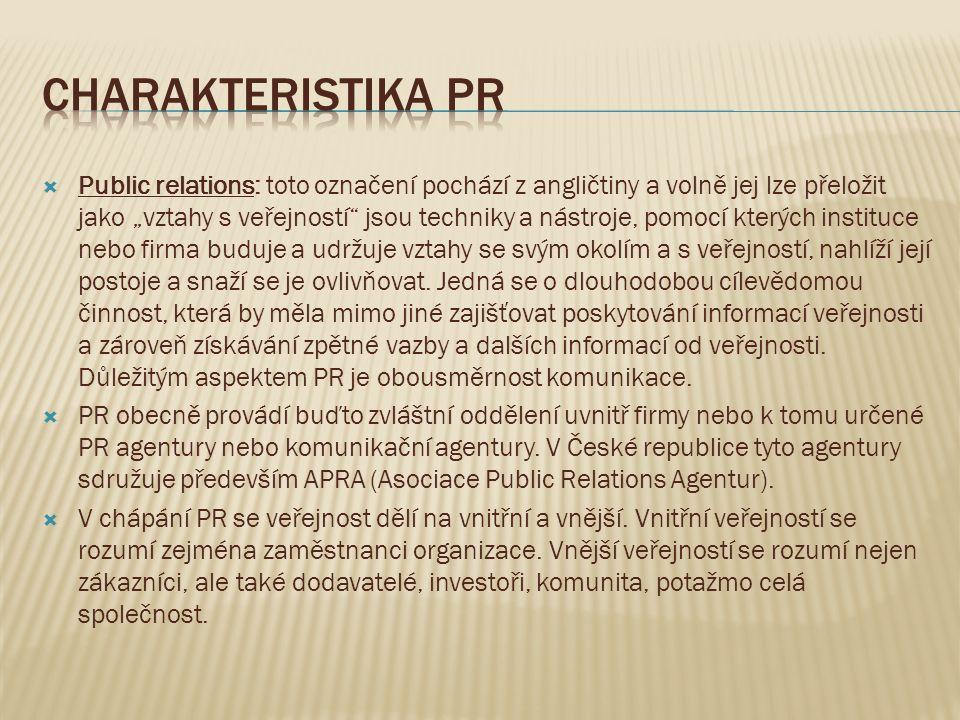 """ Public relations: toto označení pochází z angličtiny a volně jej lze přeložit jako """"vztahy s veřejností"""" jsou techniky a nástroje, pomocí kterých in"""