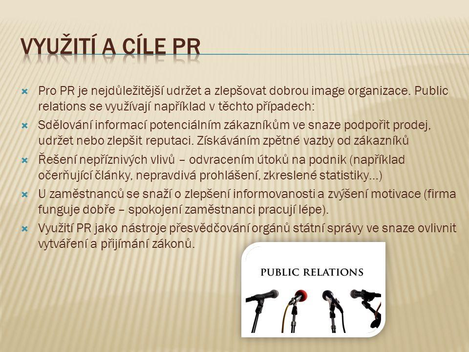  Pro PR je nejdůležitější udržet a zlepšovat dobrou image organizace. Public relations se využívají například v těchto případech:  Sdělování informa