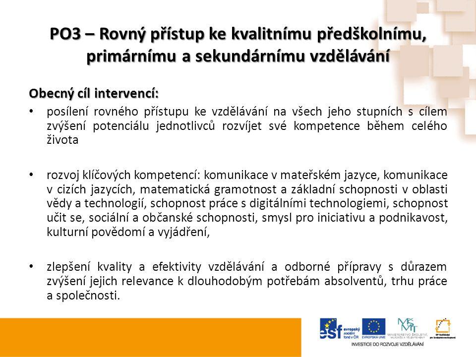 PO3 – Rovný přístup ke kvalitnímu předškolnímu, primárnímu a sekundárnímu vzdělávání Obecný cíl intervencí: posílení rovného přístupu ke vzdělávání na