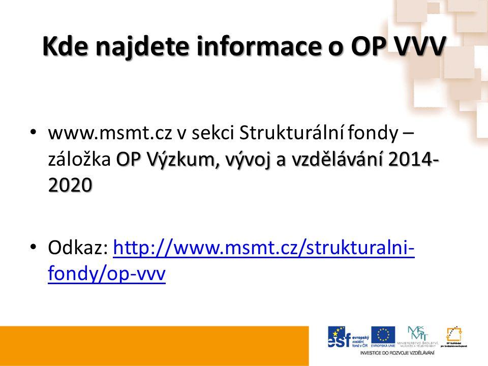 Kde najdete informace o OP VVV OP Výzkum, vývoj a vzdělávání 2014- 2020 www.msmt.cz v sekci Strukturální fondy – záložka OP Výzkum, vývoj a vzdělávání