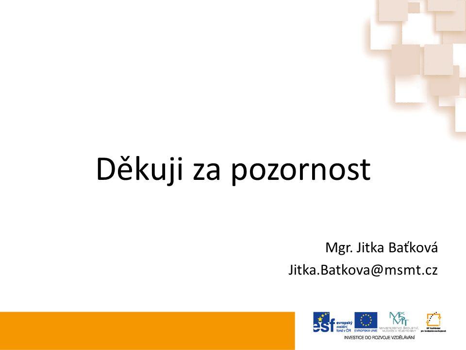 Děkuji za pozornost Mgr. Jitka Baťková Jitka.Batkova@msmt.cz