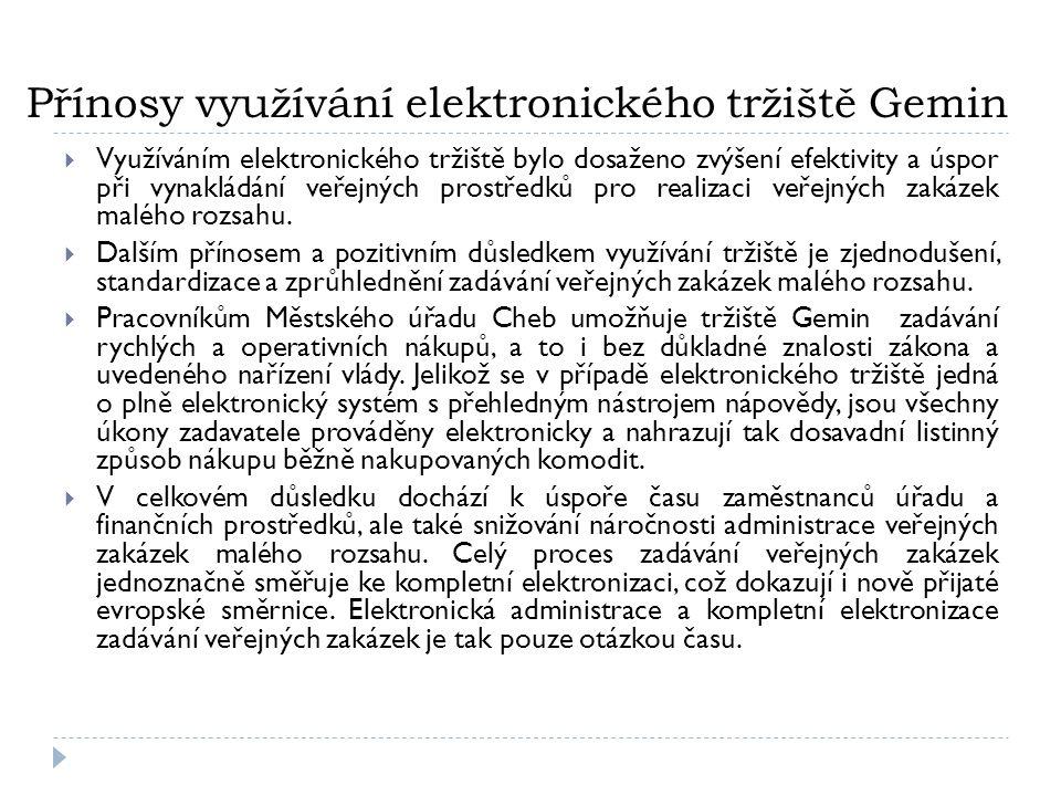 Přínosy využívání elektronického tržiště Gemin  Využíváním elektronického tržiště bylo dosaženo zvýšení efektivity a úspor při vynakládání veřejných prostředků pro realizaci veřejných zakázek malého rozsahu.