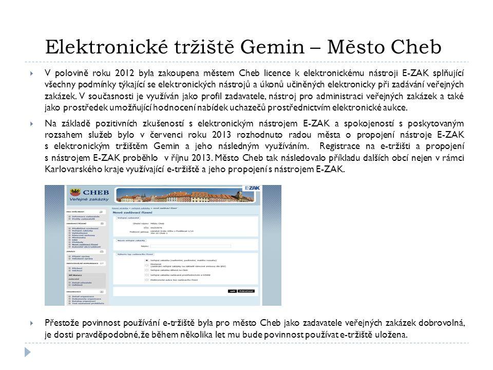 Registrace zadavatele na e-tržišti  Dne 14.10.2013 byla provedena registrace na elektronickém tržišti Gemin - výpis z registru ekonomických subjektů - plná moc / pověření k zastupování organizace příslušné osoby (administrátora) - administrátor: stanovení organizační struktury, přidávání uživatelů, přidělování oprávnění atd.