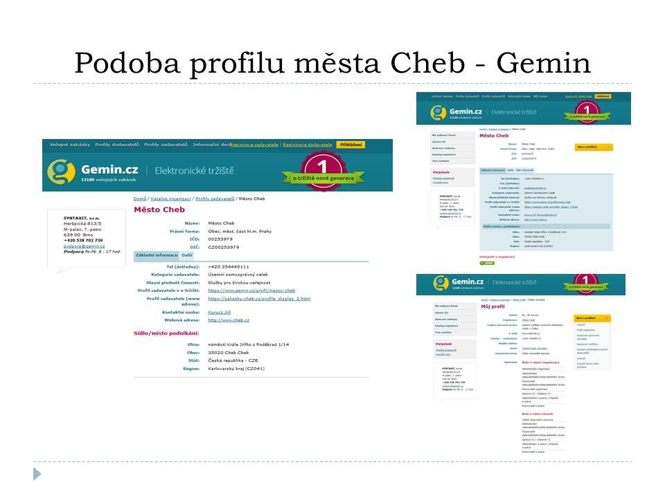 Směrnice pro zadávání veřejných zakázek městem Cheb  Před zahájením zadávání veřejných zakázek prostřednictvím elektronického tržiště bylo nutné zpracovat podmínky jeho využívání do interní směrnice městského úřadu.