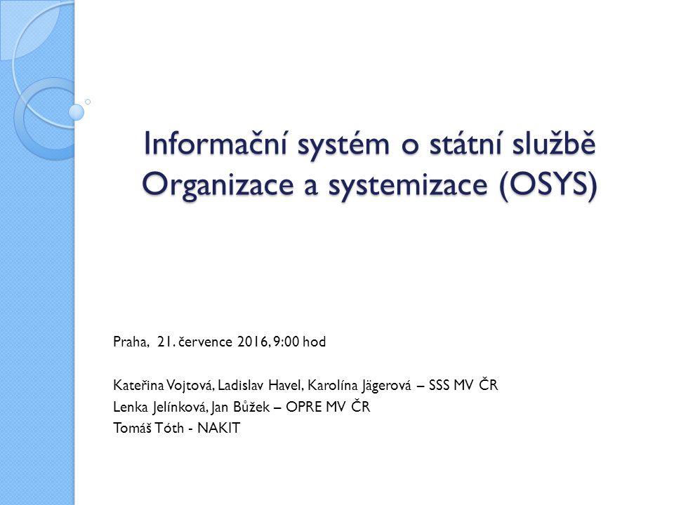 Informační systém o státní službě Organizace a systemizace (OSYS) Informační systém o státní službě Organizace a systemizace (OSYS) Praha, 21. červenc