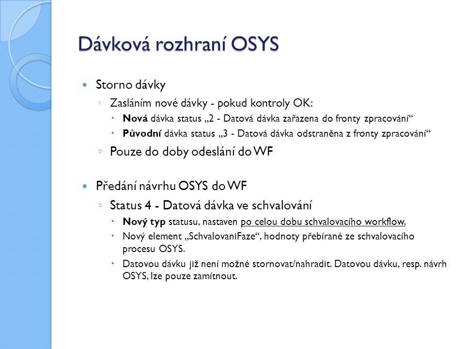 """Dávková rozhraní OSYS Storno dávky ◦ Zasláním nové dávky - pokud kontroly OK:  Nová dávka status """"2 - Datová dávka zařazena do fronty zpracování""""  P"""
