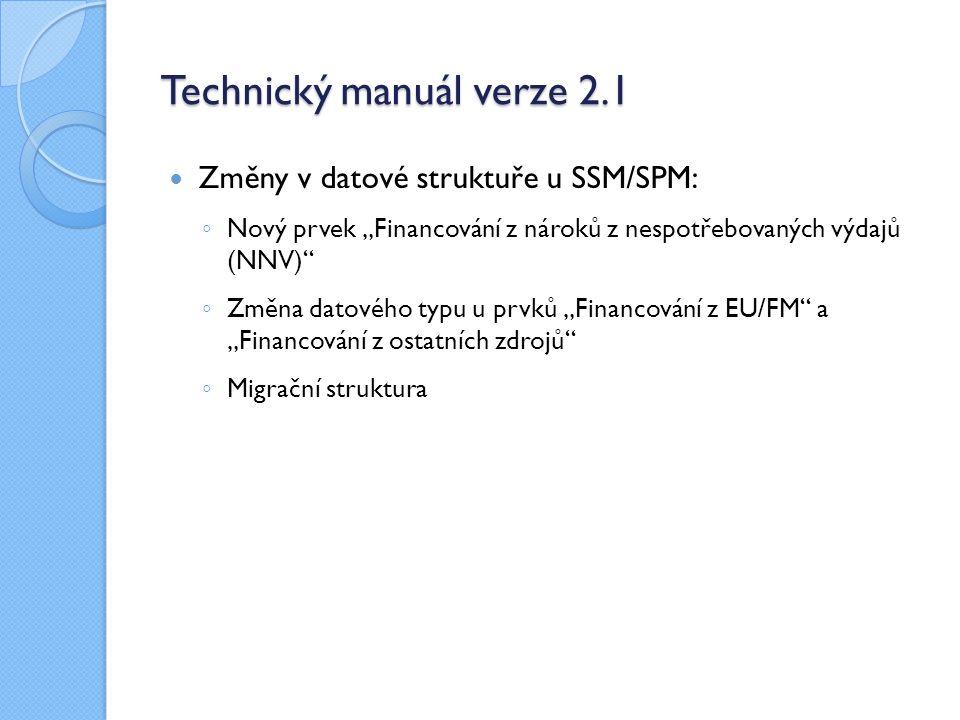 """Technický manuál verze 2.1 Změny v datové struktuře u SSM/SPM: ◦ Nový prvek """"Financování z nároků z nespotřebovaných výdajů (NNV)"""" ◦ Změna datového ty"""