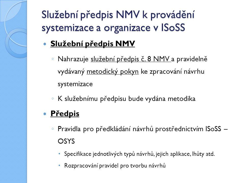 Služební předpis NMV k provádění systemizace a organizace v ISoSS Služební předpis NMV ◦ Nahrazuje služební předpis č. 8 NMV a pravidelně vydávaný met