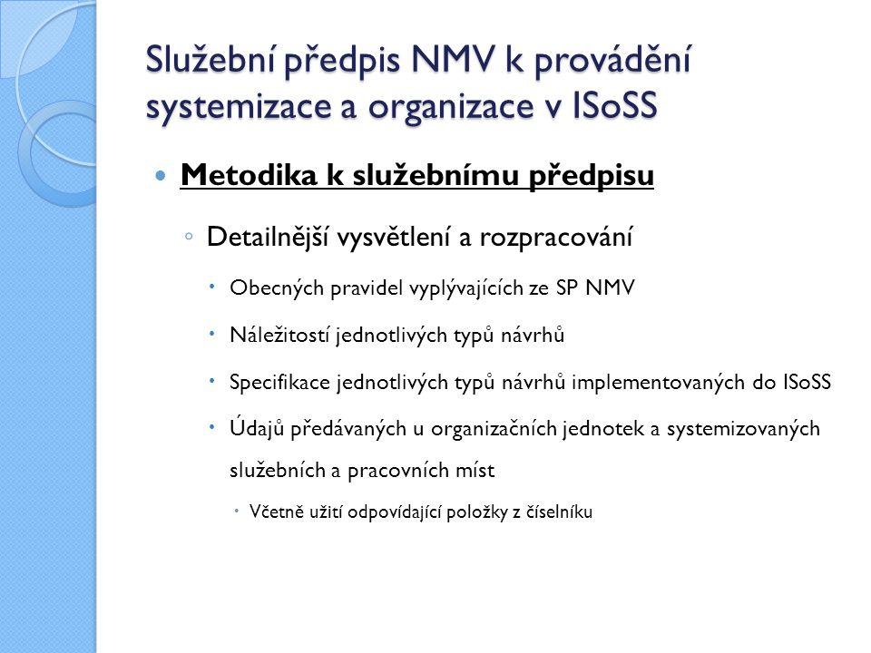 Služební předpis NMV k provádění systemizace a organizace v ISoSS Harmonogram uvolnění SP NMV pro SÚ ◦ Pro proces testování zúčastněným SÚ  Zapracování zkušeností z testování ◦ Pro všechny služební úřady oficiálně vydán s účinností od 1.