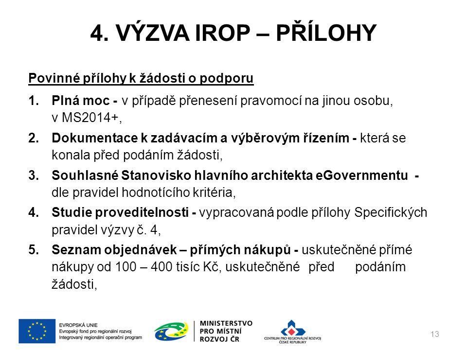 4. VÝZVA IROP – PŘÍLOHY Povinné přílohy k žádosti o podporu 1.Plná moc -v případě přenesení pravomocí na jinou osobu, v MS2014+, 2.Dokumentace k zadáv