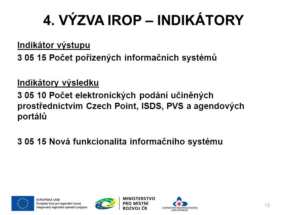 4. VÝZVA IROP – INDIKÁTORY Indikátor výstupu 3 05 15 Počet pořízených informačních systémů Indikátory výsledku 3 05 10 Počet elektronických podání uči