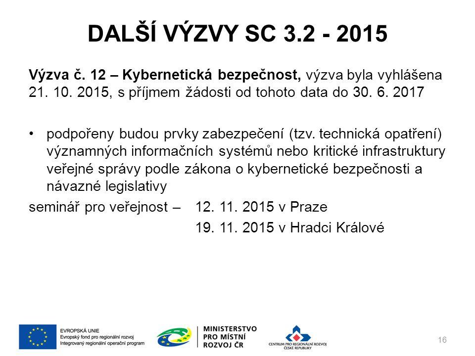 DALŠÍ VÝZVY SC 3.2 - 2015 Výzva č. 12 – Kybernetická bezpečnost, výzva byla vyhlášena 21.