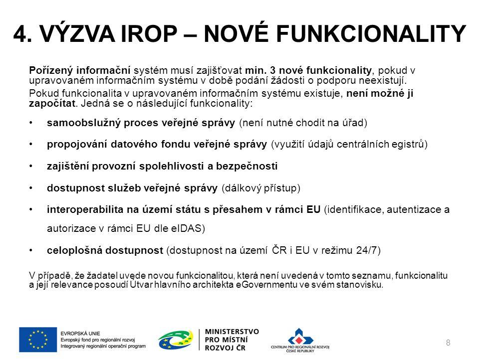 4. VÝZVA IROP – NOVÉ FUNKCIONALITY Pořízený informační systém musí zajišťovat min.
