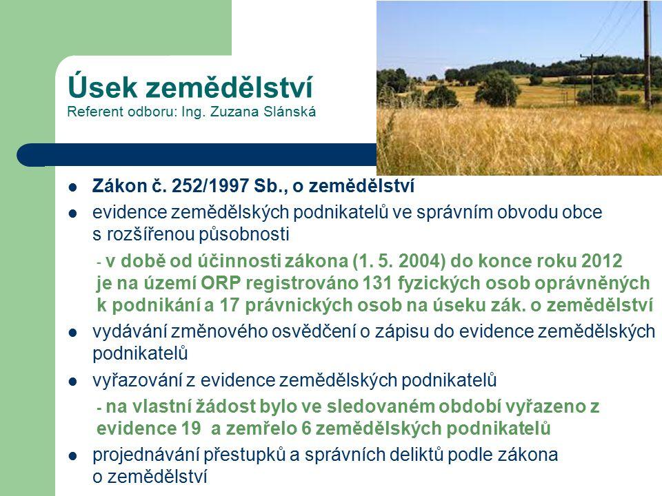Úsek zemědělství Referent odboru: Ing. Zuzana Slánská Zákon č. 252/1997 Sb., o zemědělství evidence zemědělských podnikatelů ve správním obvodu obce s