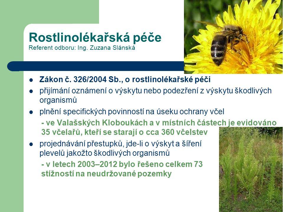 Rostlinolékařská péče Referent odboru: Ing. Zuzana Slánská Zákon č. 326/2004 Sb., o rostlinolékařské péči přijímání oznámení o výskytu nebo podezření