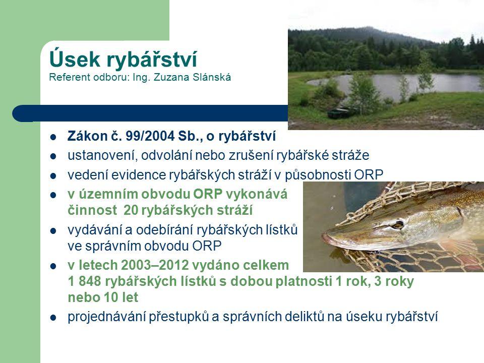Úsek rybářství Referent odboru: Ing.Zuzana Slánská Zákon č.