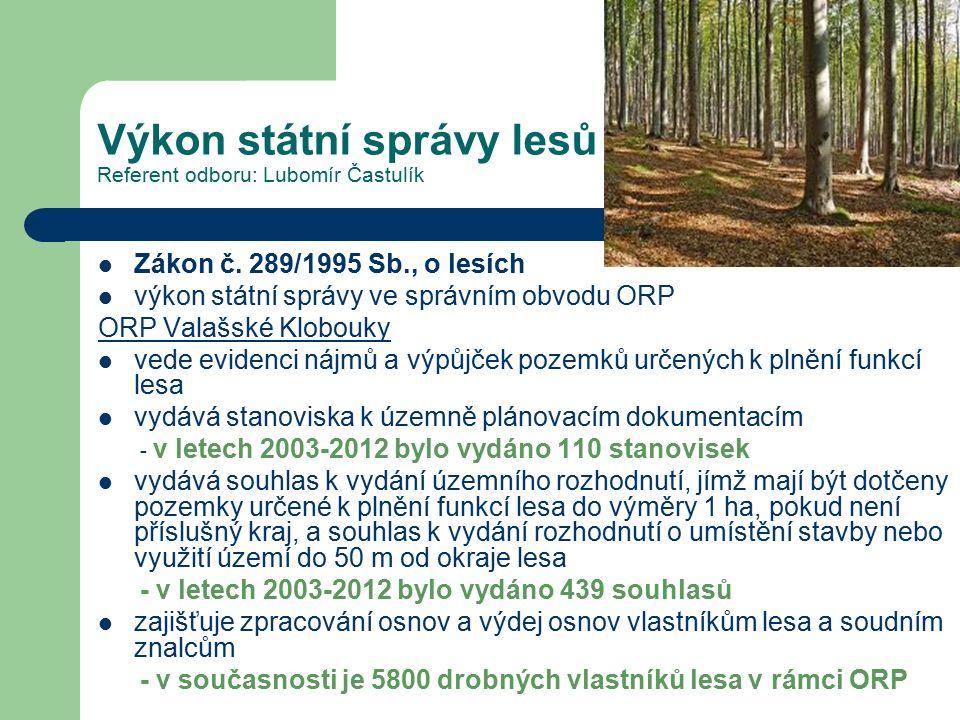 Výkon státní správy lesů Referent odboru: Lubomír Častulík Zákon č. 289/1995 Sb., o lesích výkon státní správy ve správním obvodu ORP ORP Valašské Klo