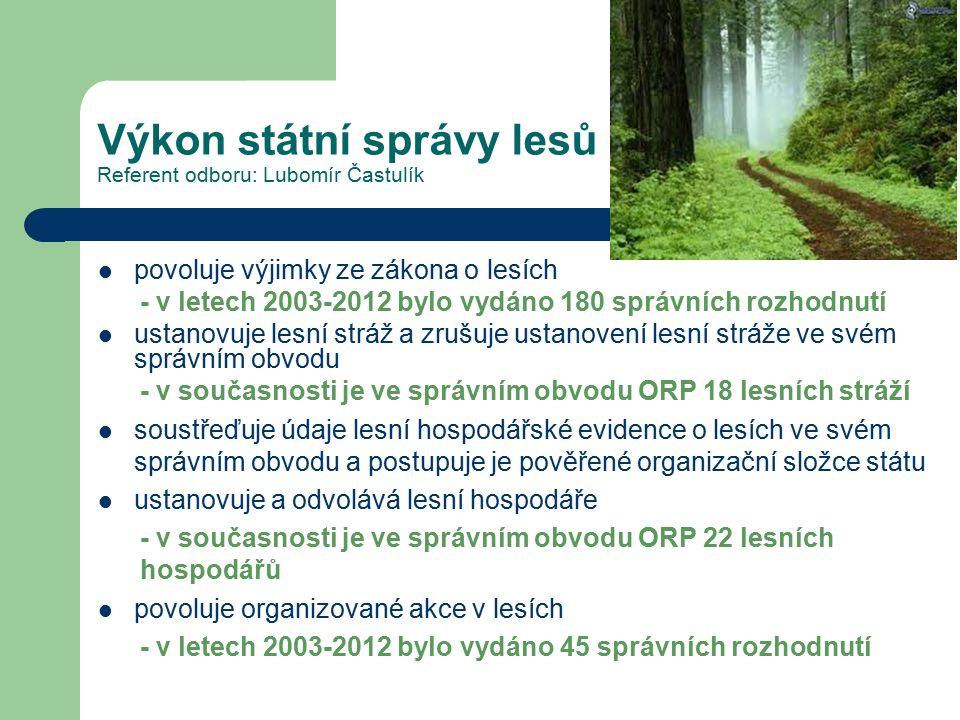 Výkon státní správy lesů Referent odboru: Lubomír Častulík povoluje výjimky ze zákona o lesích - v letech 2003-2012 bylo vydáno 180 správních rozhodnutí ustanovuje lesní stráž a zrušuje ustanovení lesní stráže ve svém správním obvodu - v současnosti je ve správním obvodu ORP 18 lesních stráží soustřeďuje údaje lesní hospodářské evidence o lesích ve svém správním obvodu a postupuje je pověřené organizační složce státu ustanovuje a odvolává lesní hospodáře - v současnosti je ve správním obvodu ORP 22 lesních hospodářů povoluje organizované akce v lesích - v letech 2003-2012 bylo vydáno 45 správních rozhodnutí