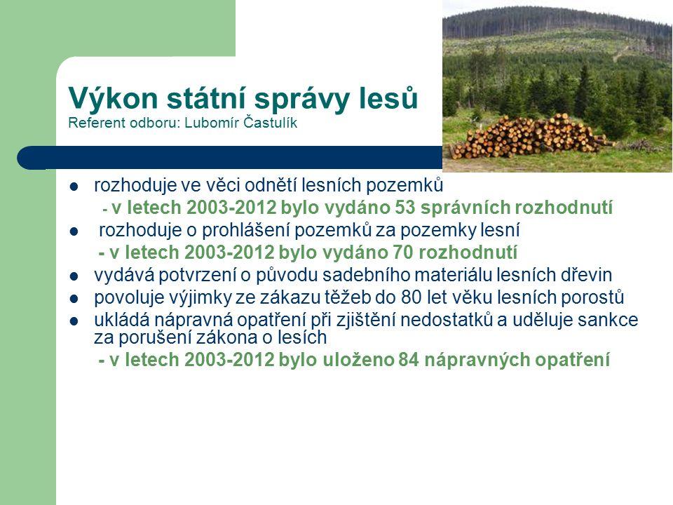 Výkon státní správy lesů Referent odboru: Lubomír Častulík rozhoduje ve věci odnětí lesních pozemků - v letech 2003-2012 bylo vydáno 53 správních rozh