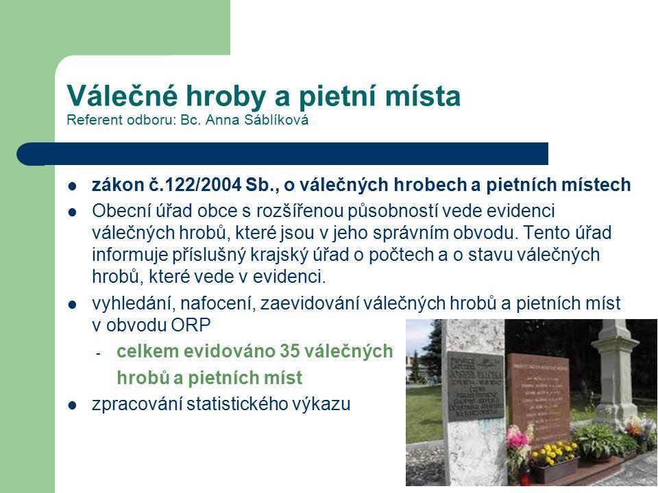 Válečné hroby a pietní místa Referent odboru: Bc. Anna Sáblíková zákon č.122/2004 Sb., o válečných hrobech a pietních místech Obecní úřad obce s rozší