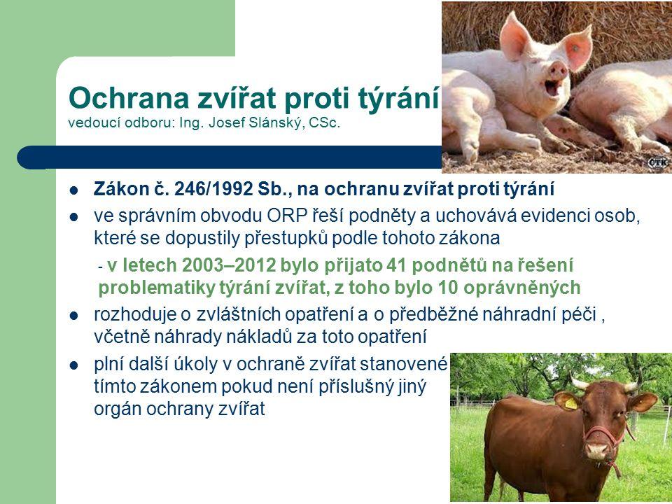 Ochrana zvířat proti týrání vedoucí odboru: Ing.Josef Slánský, CSc.