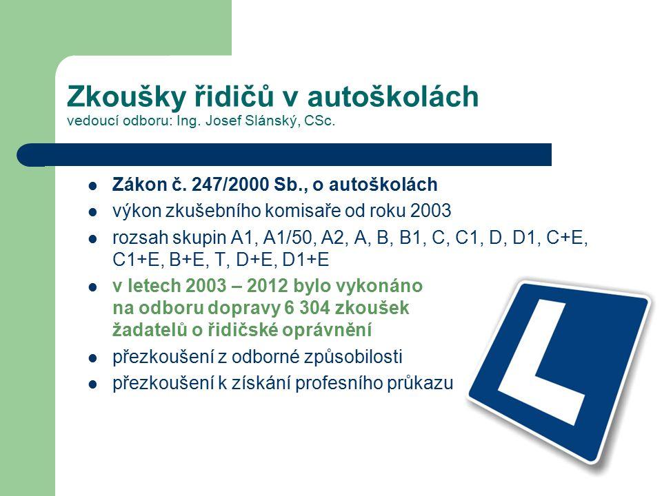 Zkoušky řidičů v autoškolách vedoucí odboru: Ing. Josef Slánský, CSc. Zákon č. 247/2000 Sb., o autoškolách výkon zkušebního komisaře od roku 2003 rozs