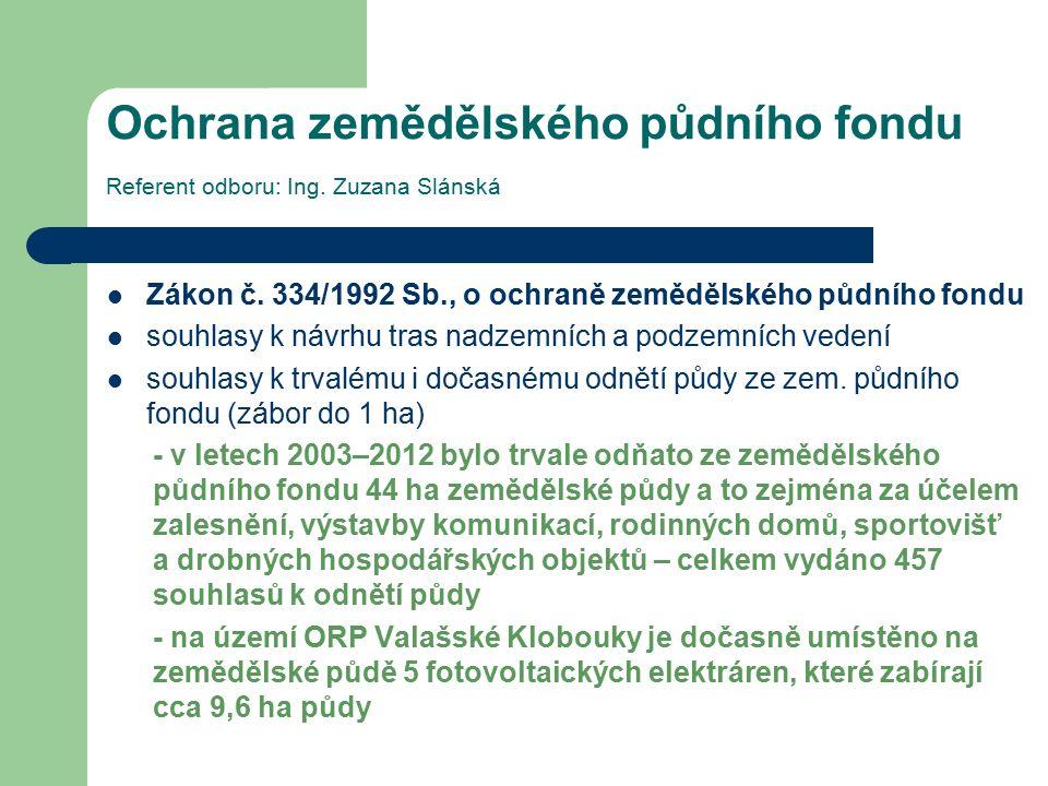 Ochrana zemědělského půdního fondu Referent odboru: Ing. Zuzana Slánská Zákon č. 334/1992 Sb., o ochraně zemědělského půdního fondu souhlasy k návrhu