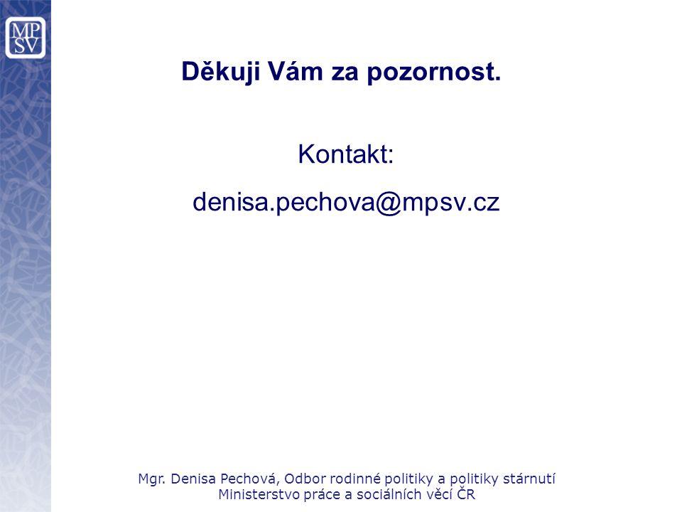 Děkuji Vám za pozornost. Kontakt: denisa.pechova@mpsv.cz Mgr. Denisa Pechová, Odbor rodinné politiky a politiky stárnutí Ministerstvo práce a sociální