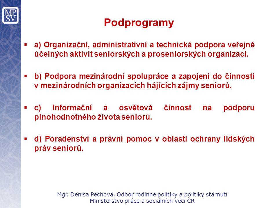 Podprogramy  a) Organizační, administrativní a technická podpora veřejně účelných aktivit seniorských a proseniorských organizací.  b) Podpora mezin