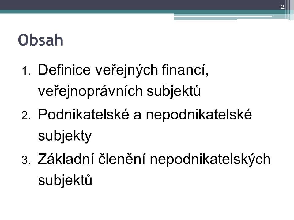 Obsah 1. Definice veřejných financí, veřejnoprávních subjektů 2. Podnikatelské a nepodnikatelské subjekty 3. Základní členění nepodnikatelských subjek