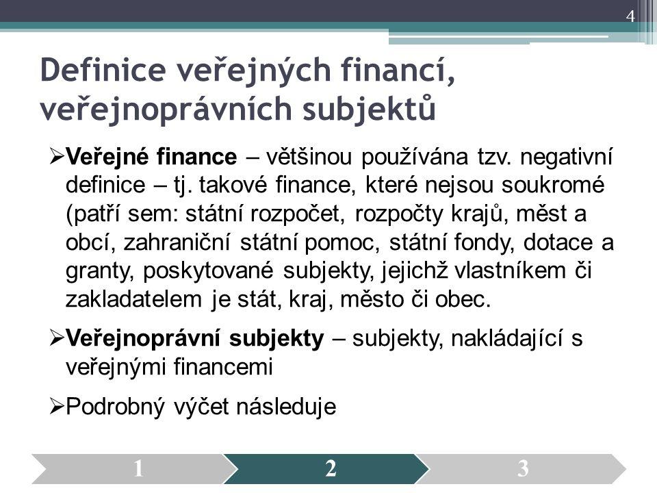 Definice veřejných financí, veřejnoprávních subjektů  Veřejné finance – většinou používána tzv. negativní definice – tj. takové finance, které nejsou