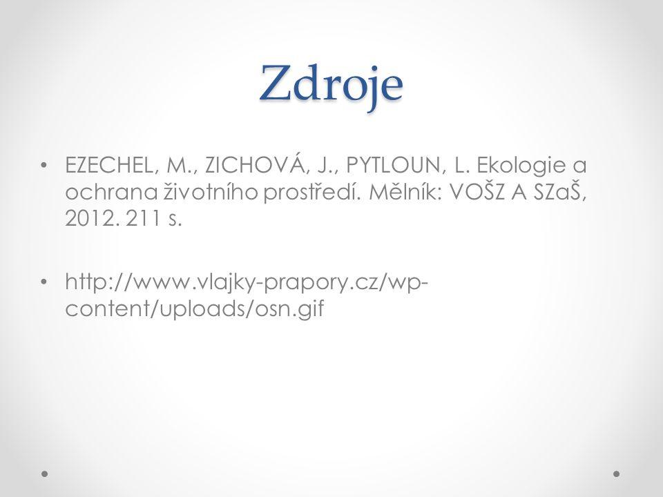 Zdroje EZECHEL, M., ZICHOVÁ, J., PYTLOUN, L. Ekologie a ochrana životního prostředí.