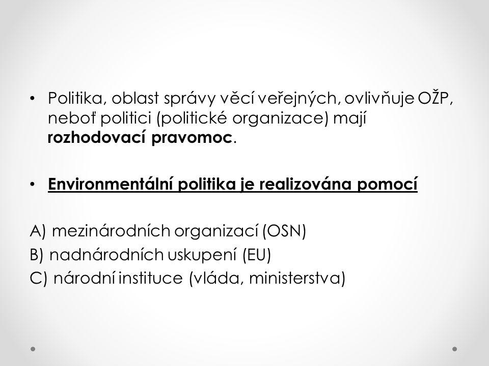 Politika, oblast správy věcí veřejných, ovlivňuje OŽP, neboť politici (politické organizace) mají rozhodovací pravomoc.