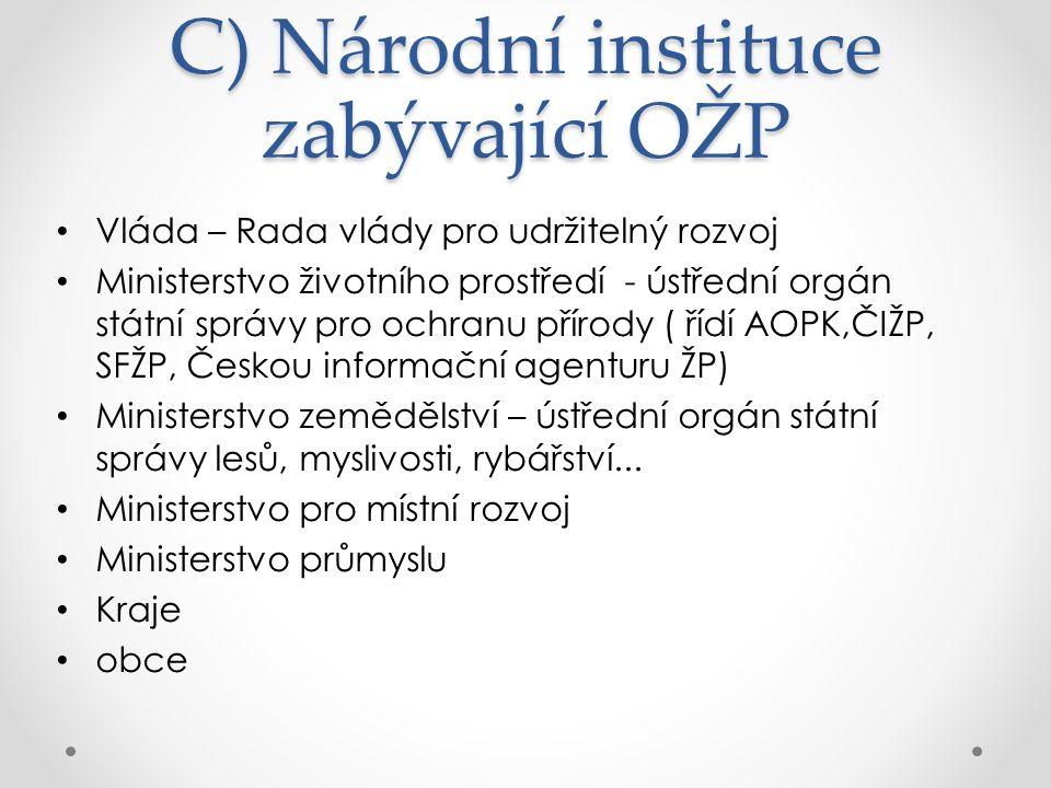 Opakovací otázky 1.Vyjmenujte hlavní světové instituce, které se podílejí na OŽP.