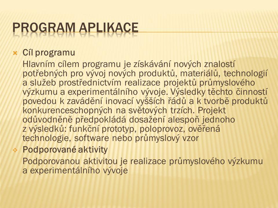  Cíl programu Hlavním cílem programu je získávání nových znalostí potřebných pro vývoj nových produktů, materiálů, technologií a služeb prostřednictvím realizace projektů průmyslového výzkumu a experimentálního vývoje.
