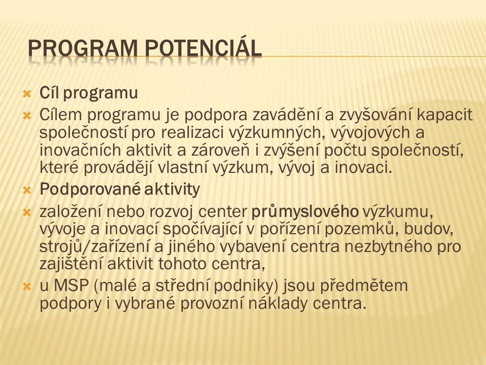  Cíl programu  Cílem programu je podpora zavádění a zvyšování kapacit společností pro realizaci výzkumných, vývojových a inovačních aktivit a zárove