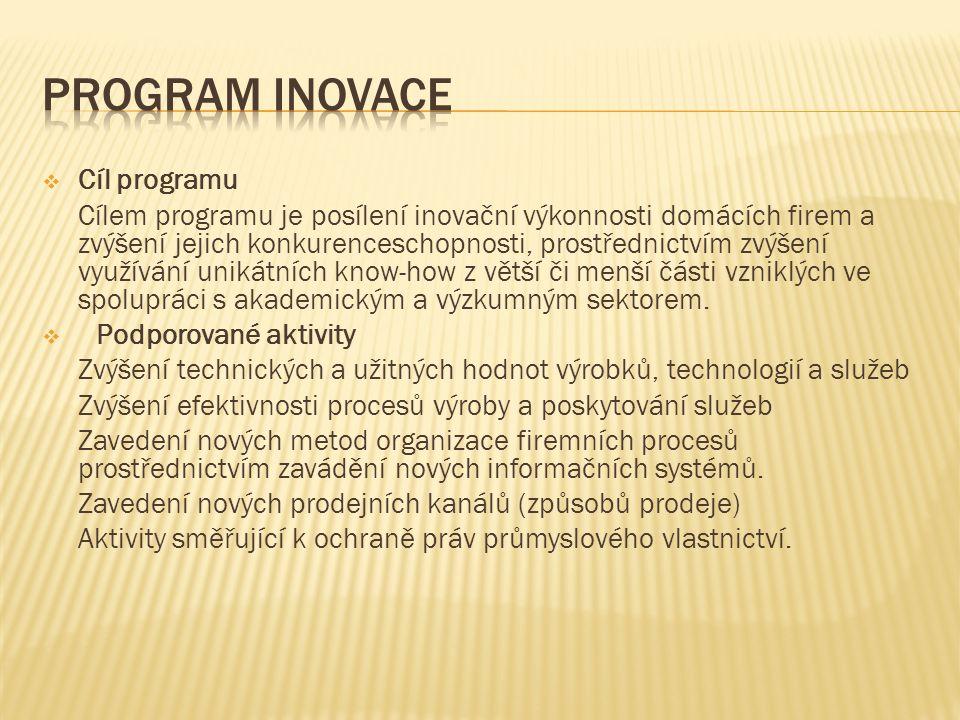  Cíl programu Cílem programu je posílení inovační výkonnosti domácích firem a zvýšení jejich konkurenceschopnosti, prostřednictvím zvýšení využívání unikátních know-how z větší či menší části vzniklých ve spolupráci s akademickým a výzkumným sektorem.