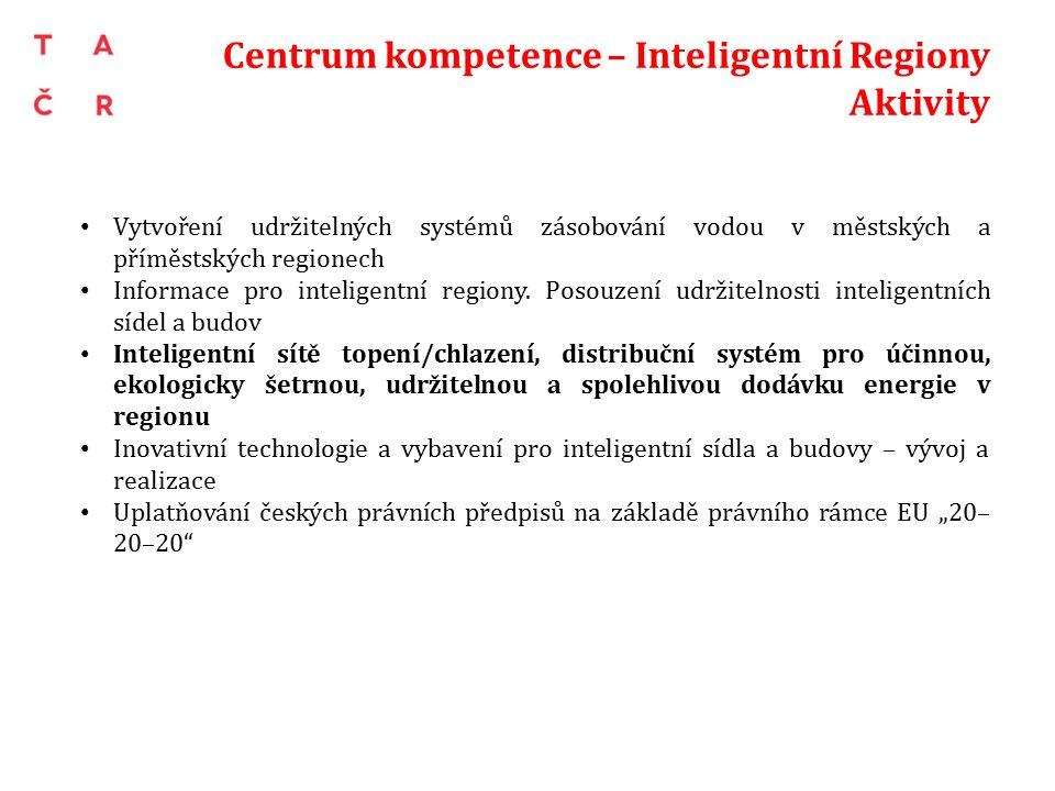Centrum kompetence – Inteligentní Regiony Aktivity Vytvoření udržitelných systémů zásobování vodou v městských a příměstských regionech Informace pro inteligentní regiony.