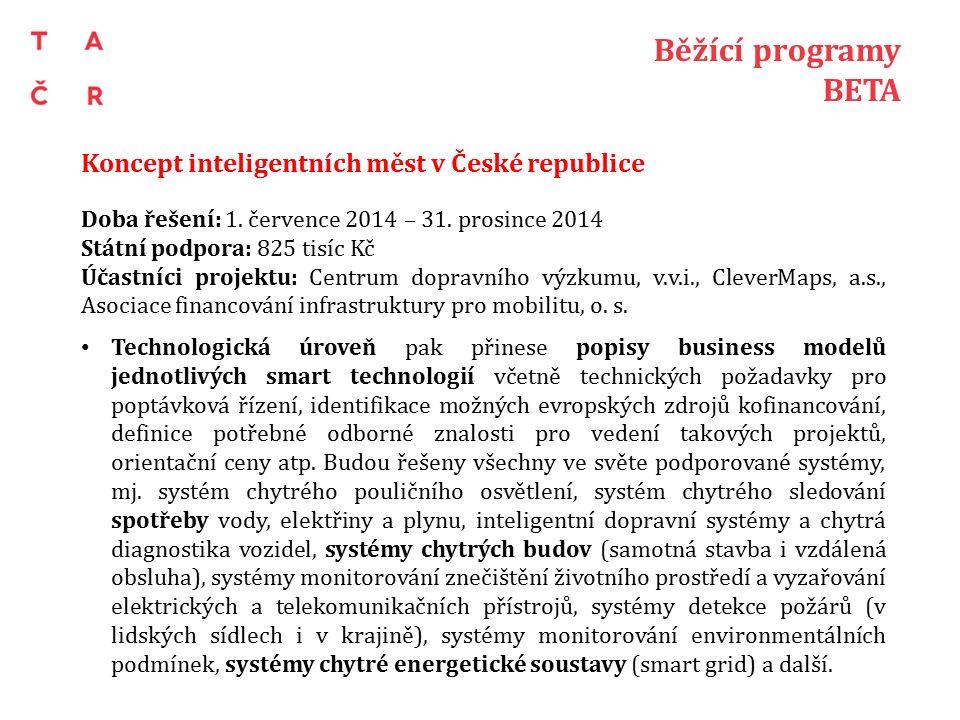 Běžící programy BETA Koncept inteligentních měst v České republice Doba řešení: 1.