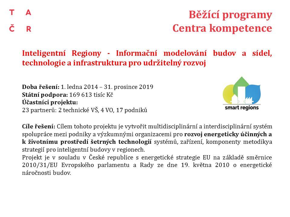 Běžící programy Centra kompetence Inteligentní Regiony - Informační modelování budov a sídel, technologie a infrastruktura pro udržitelný rozvoj Doba řešení: 1.