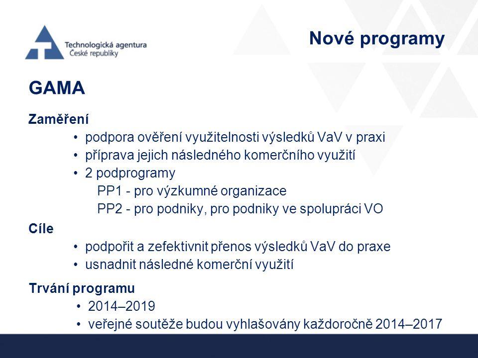 Nové programy GAMA Zaměření podpora ověření využitelnosti výsledků VaV v praxi příprava jejich následného komerčního využití 2 podprogramy PP1 - pro výzkumné organizace PP2 - pro podniky, pro podniky ve spolupráci VO Cíle podpořit a zefektivnit přenos výsledků VaV do praxe usnadnit následné komerční využití Trvání programu 2014–2019 veřejné soutěže budou vyhlašovány každoročně 2014–2017