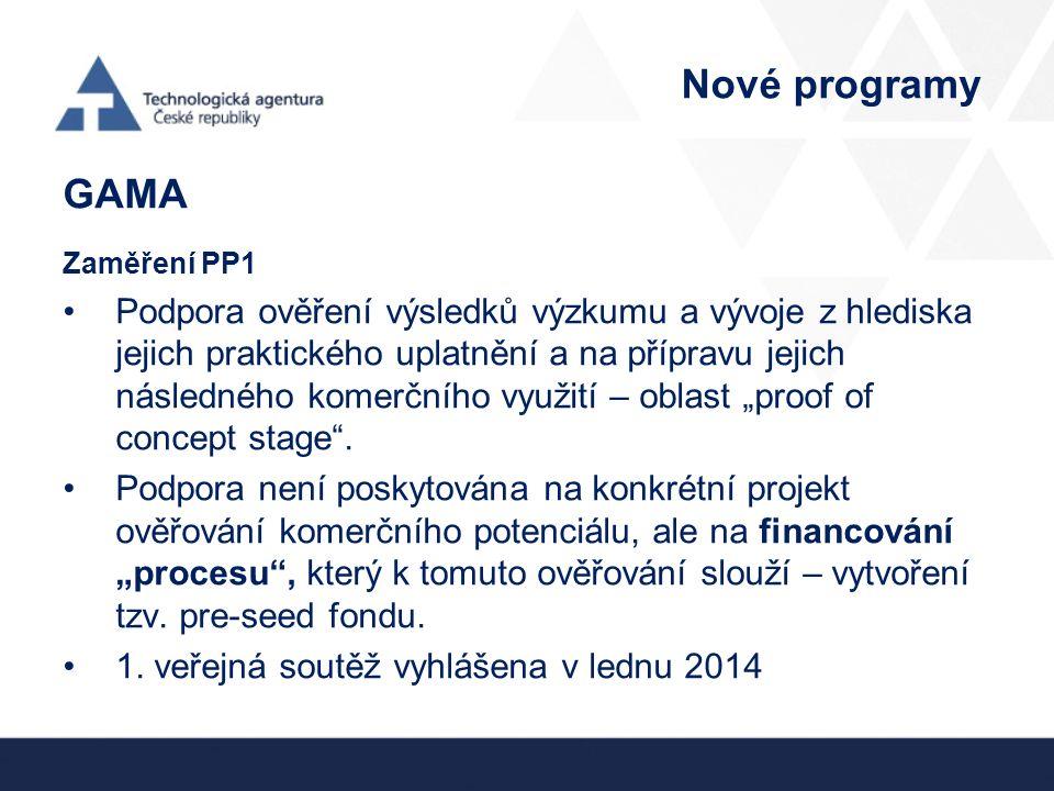 Nové programy GAMA Zaměření PP1 Podpora ověření výsledků výzkumu a vývoje z hlediska jejich praktického uplatnění a na přípravu jejich následného kome