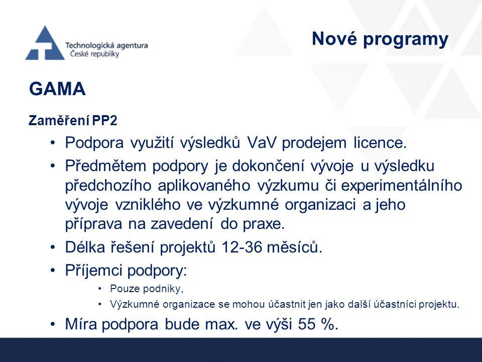 Nové programy GAMA Zaměření PP2 Podpora využití výsledků VaV prodejem licence. Předmětem podpory je dokončení vývoje u výsledku předchozího aplikované