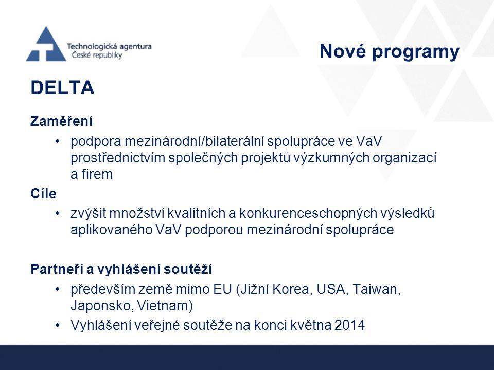 Nové programy DELTA Zaměření podpora mezinárodní/bilaterální spolupráce ve VaV prostřednictvím společných projektů výzkumných organizací a firem Cíle zvýšit množství kvalitních a konkurenceschopných výsledků aplikovaného VaV podporou mezinárodní spolupráce Partneři a vyhlášení soutěží především země mimo EU (Jižní Korea, USA, Taiwan, Japonsko, Vietnam) Vyhlášení veřejné soutěže na konci května 2014