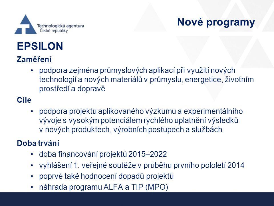 Nové programy EPSILON Zaměření podpora zejména průmyslových aplikací při využití nových technologií a nových materiálů v průmyslu, energetice, životním prostředí a dopravě Cíle podpora projektů aplikovaného výzkumu a experimentálního vývoje s vysokým potenciálem rychlého uplatnění výsledků v nových produktech, výrobních postupech a službách Doba trvání doba financování projektů 2015–2022 vyhlášení 1.