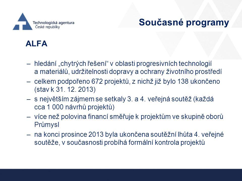 """Současné programy ALFA –hledání """"chytrých řešení v oblasti progresivních technologií a materiálů, udržitelnosti dopravy a ochrany životního prostředí –celkem podpořeno 672 projektů, z nichž již bylo 138 ukončeno (stav k 31."""